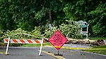 BETHLEHEM , CT-080620JS01—Little progress has been made on a number of roads, including West Road (Route 132) in Bethlehem on Thursday where a tree and downed wires from Tropical Storm Isaias still blocks the road.  <br />  Jim Shannon Republican-American