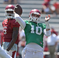 NWA Democrat-Gazette/MICHAEL WOODS &bull; @NWAMICHAELW<br /> University of Arkansas quarterback Brandon Allen runs drills during practice Saturday, August 15, 2015 at Razorback Stadium in Fayetteville.