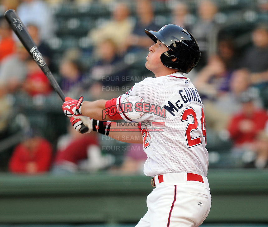 First baseman Chris McGuiness (24) of the Greenville Drive, Class A affiliate of the Boston Red Sox, at a game against the Rome Braves April 14, 2010, at Fluor Field at the West End in Greenville, S.C. Photo by: Tom Priddy/Four Seam Images