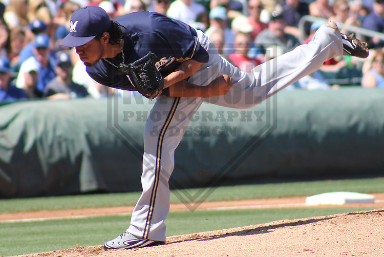 SURPRISE - March 2012: Yovani Gallardo (49) of the Milwaukee Brewers during a Spring Training game against the Kansas City Royals on March 16, 2012 at Surprise Stadium in Surprise, Arizona. (Photo by Brad Krause).