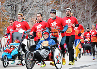 Athletes start the myTeam Triumph Half Marathon during the Madison Marathon on Sunday in Madison, Wisconsin