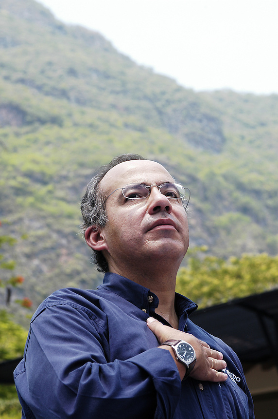 Felipe Calderon pauses before talkinhg to his supporters about conservation at the Sumidero Canyon park. Friday's visit to the park was part of his campaign tour of the state of Chiapas. Calderon is surging ahead in the Mexican presidential elections.