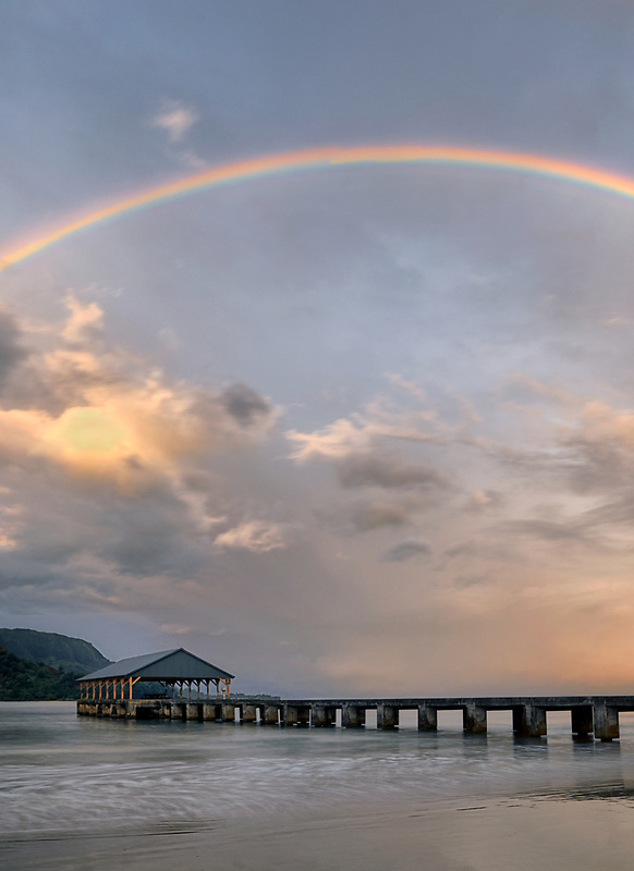Hanalei Pier, Bay and Bali Hai with rainbow. (Mekana Mountain) Kauai, Hawaii (Mekana Mountain) Kauai, Hawaii