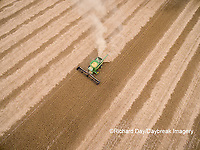 63801-09701 Soybean Harvest, John Deere combine harvesting soybeans - aerial - Marion Co. IL