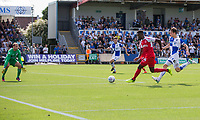 Devante Cole of Fleetwood Town shoots at goal during the Sky Bet League 1 match between Bristol Rovers and Fleetwood Town at the Memorial Stadium, Bristol, England on 26 August 2017. Photo by Mark  Hawkins.
