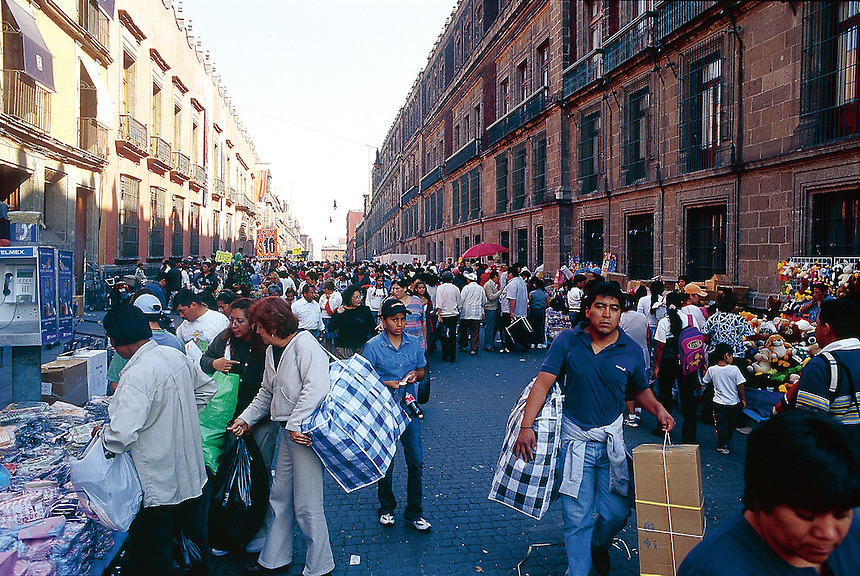 Busy city center, where the ambulantes (street vendors) sell their wares. Mexico City 3-9-04