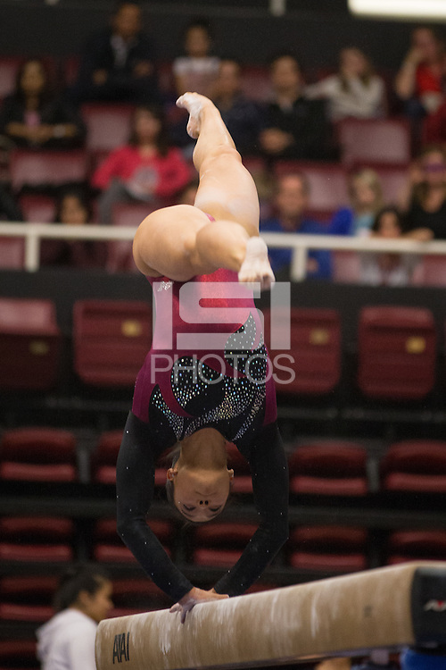 Stanford, California - January 26, 2015: Stanford Women's Gymnastics vs Oregon State on Monday night at Maples Pavilion.