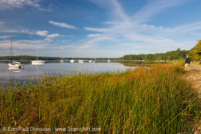 Sandy pond shore community at Lake Massabesic in Auburn, New Hampshire USA