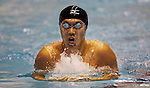 Sano Hidemasa, of Japan, swims to in the men's 400-yard IM event at the AT & T Short Course National Short Course Swimming Championships on December 3rd to the 5th, 2009., in Federal Way Washington. Hidemasa posted a time of 3:48.32. Jim Bryant Photo. ©2009. All Rights Reserved...
