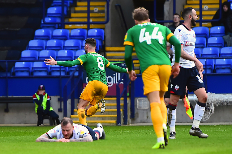 Preston North End's Alan Browne celebrates scoring his side's first goal <br /> <br /> Photographer Richard Martin-Roberts/CameraSport<br /> <br /> The EFL Sky Bet Championship - Bolton Wanderers v Preston North End - Saturday 9th February 2019 - University of Bolton Stadium - Bolton<br /> <br /> World Copyright &copy; 2019 CameraSport. All rights reserved. 43 Linden Ave. Countesthorpe. Leicester. England. LE8 5PG - Tel: +44 (0) 116 277 4147 - admin@camerasport.com - www.camerasport.com