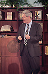 "Marietta, Ga.: Rep. Newt Gingrich gives a lecture during his ""Renewing American Civilization"" course taught in fall 1993 at Kennesaw State College in Kennesaw, Ga. The course later became part of Congressional ethics violation charges leveled against Gingrish in 1996. (Photo by Bill Clark)"