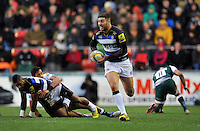 Matt Banahan of Bath Rugby goes on the attack. Aviva Premiership match, between Leicester Tigers and Bath Rugby on November 29, 2015 at Welford Road in Leicester, England. Photo by: Patrick Khachfe / Onside Images