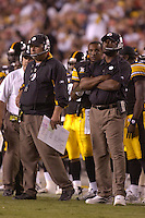 18 August 2007:.Steelers Offensive Coordinator Bruce Arians and Head Coach Mike Tomlin.  The Pittsburgh Steelers defeated the Washington Redskins 12-10 in their preseason game at FedEx Field in Landover, MD.