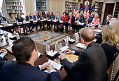 United States President Donald Trump speaks during a strategic and policy discussion with CEOs in the State Department Library in the Eisenhower Executive Office Building (EEOB) in Washington, DC, April 11, 2017.<br /> Credit: Olivier Douliery / Pool via CNP