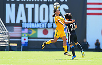 San Diego, CA - Sunday July 30, 2017: Sam Kerr, Nana Ichise during a 2017 Tournament of Nations match between the women's national teams of the Australia (AUS) and Japan (JAP) at Qualcomm Stadium.