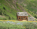 Old mining structure along California Gulch, San Juan Mountains, Colorado.