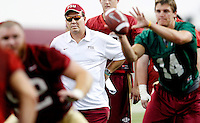 TALLAHASSEE, FLA.8/6/13-FSU080613CH-Florida State Head Coach Jimbo Fisher, left, watches quarterback Jacob Coker, right, during practice Aug. 6, 2013 in Tallahassee, Fla.<br /> <br /> COLIN HACKLEY PHOTO