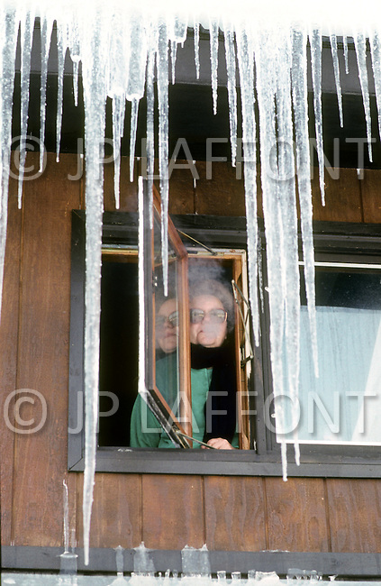 Talkeetna Area, Alaska, U.S.A, January 1989. A sudden cold wave struck Alaska resulting to the temperature falling under 50 degrees Centigrade (58 degrees Fahrenheit). Clara wallace, 55, living in Talkeetna.