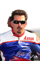Nov 11, 2010; Pomona, CA, USA; NHRA pro stock motorcycle rider Aaron Pine during qualifying for the Auto Club Finals at Auto Club Raceway at Pomona. Mandatory Credit: Mark J. Rebilas-