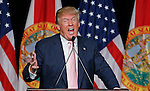 Donald Trump delivers speech during his first presidential campaign rally in Florida at the Trump National Doral Miami resort on Friday, October 23, 2015.