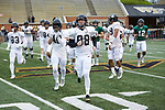 Zach Murphy (88) of the Wake Forest Gold Team leads his team on to the field prior to the start of the Wake Forest Football Spring Game at BB&T Field on April 7, 2018 in Winston-Salem, North Carolina.  The Gold Team defeated the Black Team 26-6.  (Brian Westerholt/Sports On Film)