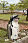 Halong-Vietnam, Ha Long - Viet Nam - 23 July 2005---Waste bins in the shape of 'hungry penguins' in public areas, here in a park at the banks of Halong Bay, to allow proper waste disposal and reduce litter problems, under the auspices of UNESCO---culture, infrastructure, environment---Photo: Horst Wagner/eup-images