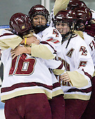 Kelli Stack (Boston College - 16), Maggie Taverna (Boston College - 10), Tracy Johnson (Boston College - 5) - The Boston College Eagles defeated the Harvard University Crimson 1-0 to win the Beanpot on Tuesday, February 10, 2009, at Matthews Arena in Boston, Massachusetts.