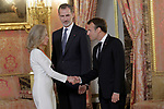 King Felipe VI of Spain (c), receives in the Royal Palace the President of the French Republic Emmanuel Macron (r) in presence of Alicia Koplowitz. July 26,2018. (ALTERPHOTOS/Acero)