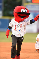 Chattanooga Lookouts mascot Looie entertains fans in between innings with the base race during a game against the Birmingham Barons on April 24, 2014 at AT&T Field in Chattanooga, Tennessee.  Chattanooga defeated Birmingham 5-4.  (Mike Janes/Four Seam Images)