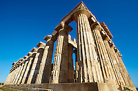 Greek Dorik Temple ruins of Temple F at Selinunte, Sicily photography, pictures, photos, images & fotos. Greek Dorik Temple columns of the ruins of the Temple of Hera, Temple E, Selinunte, Sicily