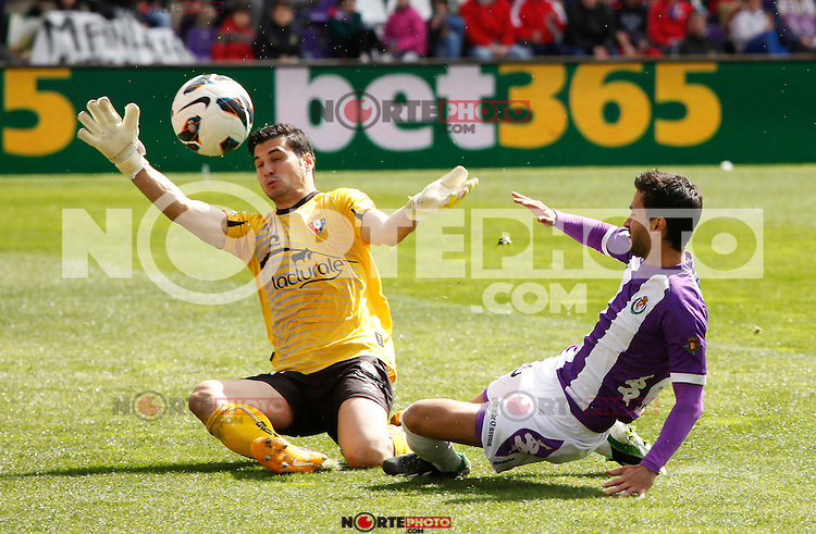 Real Valladolid´s Bueno and Osasuna´s Andres Fernandez during match of La Liga 2012/13. 31/03/2013. Victor Blanco/Alterphotos /NortePhoto