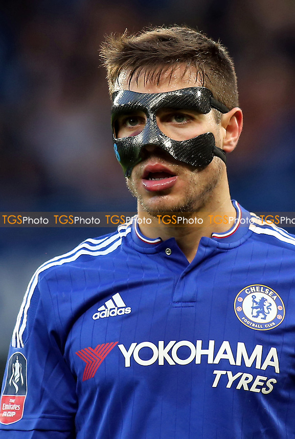 Cesar Azpilicueta of Chelsea was wearing a mask after suffering a kick in the head in a recent match during Chelsea vs Scunthorpe United at Stamford Bridge