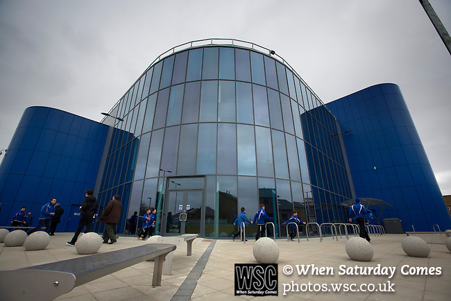 Peterborough United 1 Chesterfield 0, 21/03/2015. Abax Stadium, League One. An exterior photograph of the new Motorpoint stand at the Abax Stadium, before Peterborough United play Chesterfield in a SkyBet League One fixture. The home team won the match by one goal to nil, watched by a crowd of 6,612. The result allowed Peterborough to leapfrog their opponents into the League One play-off positions with eight games remaining of the season. Photo by Colin McPherson.