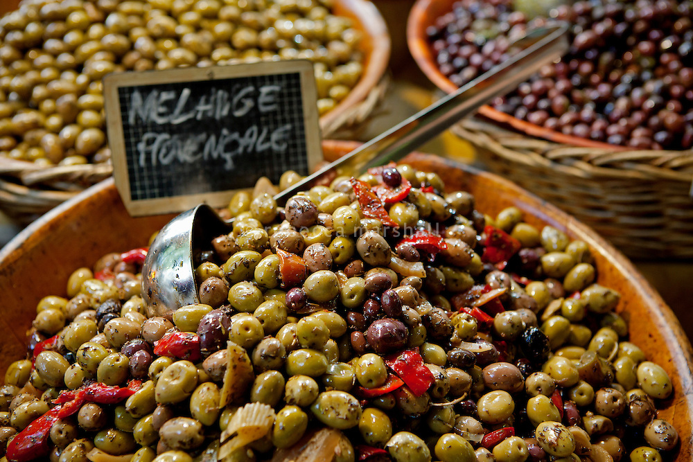 Locally-grown olives on sale at the Marché Provençal, Antibes, France, 26 April 2012