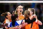 05.10.2019, Halle Berg Fidel, Muenster<br />Volleyball, Bundesliga Frauen, Normalrunde, USC MŸnster / Muenster vs. Allianz MTV Stuttgart<br /><br />Jubel Cansu Aydinogullari (#17 Stuttgart), Roosa Koskelo (#1 Stuttgart), Martina Samadan (#12 Stuttgart), Celine van Gestel (#7 Stuttgart), Alexandra Lazic (#11 Stuttgart)<br /><br />  Foto © nordphoto / Kurth