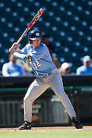 North Carolina Tar Heels shortstop Landon Lassiter #12 at bat against the California Golden Bears in the NCAA baseball game on March 2nd, 2013 at Minute Maid Park in Houston, Texas. North Carolina defeated Cal 11-5. (Andrew Woolley/Four Seam Images).