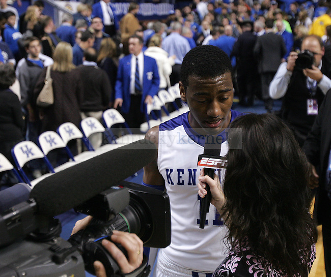 University of Kentucky freshman guard John Wall talks with an ESPN correspondent after UK's 85-75 win over Ole Miss on Tuesday, Feb. 2, 2010 in Rupp Arena. Wall was named the player of the game...Photo by Ed Matthews | Staff