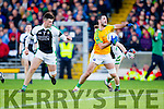 Bryan Sheehan South Kerry in action against Jamie O'Sullivan and Conor Keane  Legion at the Kerry County Senior Football Final at Fitzgerald Stadium on Sunday.