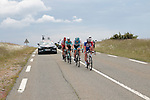The 4 man breakaway including Mickael Delage (FRA) Groupama-FDJ, Daniel Turek (Cze) Israel Cycling Academy and Loic Chetout (FRA) Cofidis Solutions Credits during Stage 1 of the Route d'Occitanie 2019, running 175.5km from Gignac-Vallée de l'Hérault to Saint-Geniez-d'Olt-et-d'Aubrac , France. 20th June 2019<br /> Picture: Colin Flockton | Cyclefile<br /> All photos usage must carry mandatory copyright credit (© Cyclefile | Colin Flockton)