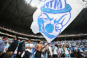 16th May 2018, Stade de Lyon, Lyon, France; Europa League football final, Marseille versus Atletico Madrid; Marseille fans waving their team flags before the match