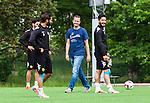 Stockholm 2014-06-07 Fotboll Superettan Hammarby IF - Tr&auml;ning :  <br /> Hammarbys styrelseledamot och fd spelare Jens Gustafsson ute p&aring; planen med Stefan Batan och Pablo Pinones-Arce under Hammarbys tr&auml;ning p&aring; &Aring;rsta IP den 7 juni 2014<br /> (Foto: Kenta J&ouml;nsson) Nyckelord:  Superettan  HIF Bajen Tr&auml;ning &Aring;rsta IP portr&auml;tt portrait glad gl&auml;dje lycka leende ler le