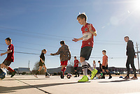 "NWA Democrat-Gazette/CHARLIE KAIJO Kids practice soccer drills, Monday, November 25, 2019 during a two-day soccer skills camp at The Strike Zone Training Academy in Rogers.<br /> <br /> Coaches led their second annual Thanksgiving, skills camp to teach kids soccer skills like first touch (how to receive the ball) and finishing (taking a quick, powerful shot). ""It's not something focused on enough in youth soccer,"" said Courtney Heinlich, owner of Strike Zone Training Academy."