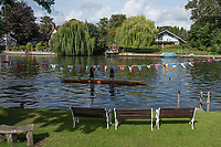 Maidenhead, United Kingdom. &quot;Pre Racing Practice&quot;, Double.  &quot;Thames Punting Club Regatta&quot;, Bray Reach.<br /> 10:03:35 Sunday  06/08/2017<br /> <br /> [Mandatory Credit. Peter SPURRIER Intersport Images}.<br /> <br /> LEICA Q (Typ 116) 28mm  f2.2   1/5000 /sec    100 ISO River Thames, .......... Summer, Sport, Sunny, Bright, Blue Skies, Skilful,