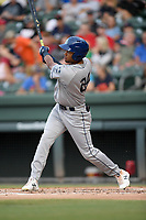 Right fielder Daniel Montano (24) of the Asheville Tourists bats in a game against the Greenville Drive on Friday, August 23, 2019, at Fluor Field at the West End in Greenville, South Carolina. Greenville won, 11-1. (Tom Priddy/Four Seam Images)