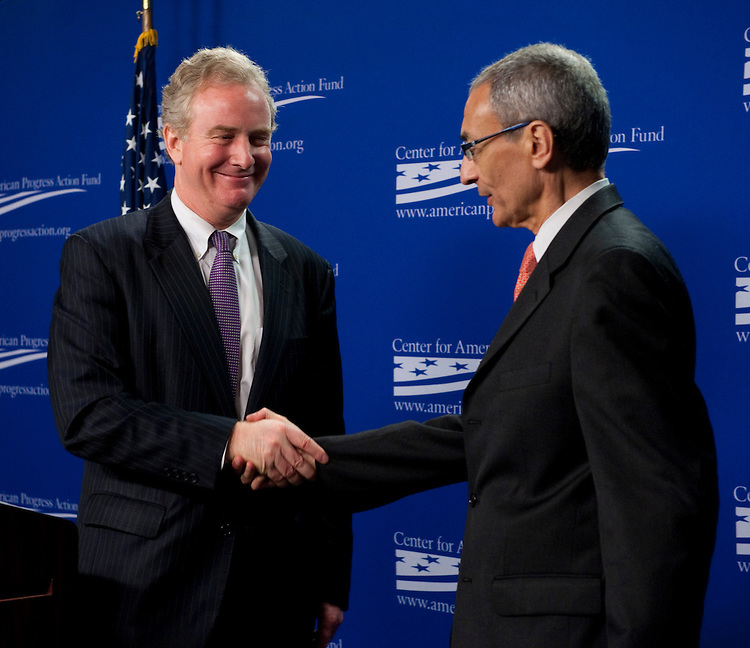 WASHINGTON, DC - April 12: House Budget ranking member Chris Van Hollen, D-Md., speaks at the Center for American Progress Action Fund on the fiscal 2012 budget and the future of the federal budget. At right is CAPA President John Podesta. (Photo by Scott J. Ferrell/Congressional Quarterly)