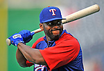21 June 2008: Texas Rangers' designated hitter Milton Bradley warms up prior to facing the Washington Nationals at Nationals Park in Washington, DC. The Rangers defeated the Nationals 13-3 in the second game of their 3-game inter-league series...Mandatory Photo Credit: Ed Wolfstein Photo