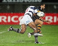 Auckland's Joe Rokocoko tackles Nathan Hohaia. Air New Zealand Cup rugby match - Taranaki v Auckland at Yarrows Stadium, New Plymouth, New Zealand. Friday 9 October 2009. Photo: Dave Lintott / lintottphoto.co.nz
