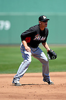Miami Marlins infielder Chris Valaika #13 during a Spring Training game against the Boston Red Sox at JetBlue Park on March 27, 2013 in Fort Myers, Florida.  Miami defeated Boston 5-1.  (Mike Janes/Four Seam Images)