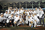 15 December 2013: Notre Dame players pose with the championship trophy. The University of Maryland Terripans played the University of Notre Dame Fighting Irish at PPL Park in Chester, Pennsylvania in a 2013 NCAA Division I Men's College Cup championship match. Notre Dame won the game 2-1.