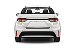 Straight rear view of a 2020 Toyota Corolla XLE 4 Door Sedan stock images